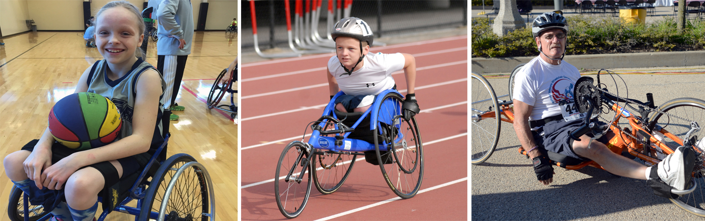 three athletes-basketball-racing chair-bike